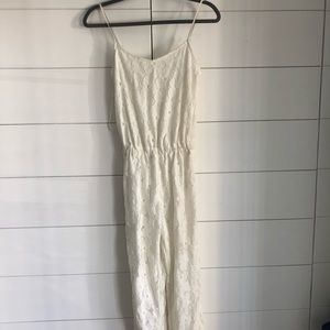 White lace jumpsuit with adjustable straps